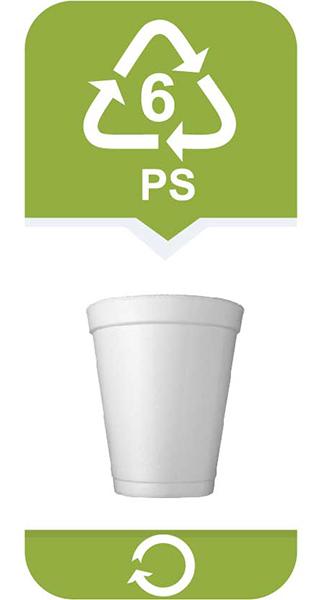 <strong>Polistyren</strong></br> • wydziela toskyny zwłaszcza pod wpływem ciepła</br> • niebezpieczny dla zdrowia</br> Najbardziej rozpoznawalny jako styropian. Polistyren jest trudny w recyklingu