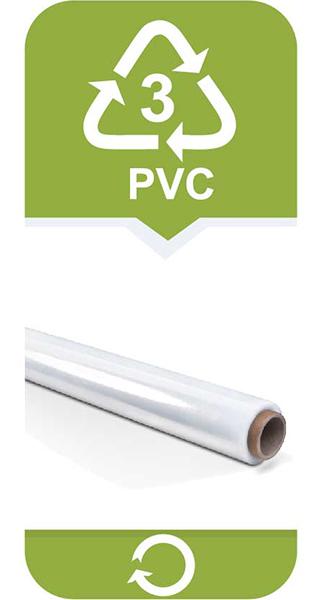<strong>Polichlorek Winylu</strong></br> • może wydzielać toksyny! Szkodliwy dla zdrowia!</br> Używany do produkcji folii i pojemników do przechowywania żywności. Materiał PVC jest trudny w recyklingu.